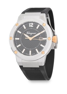 Ferragamo Classic Stainless Steel and Rubber Strap Watch