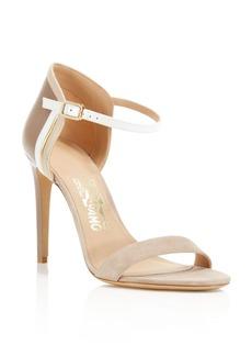 Salvatore Ferragamo Color Block Ankle Strap High Heel Sandals
