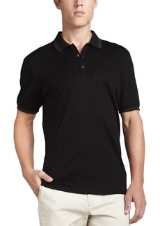 Ferragamo Men's Cotton Pique 3-Button Polo Shirt with Gancini Detail on Collar