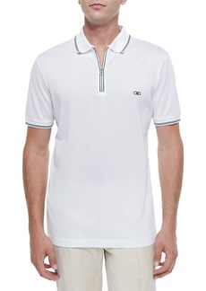 Ferragamo Men's Cotton Pique Zip Polo Shirt with Gancini Chest Embroidery