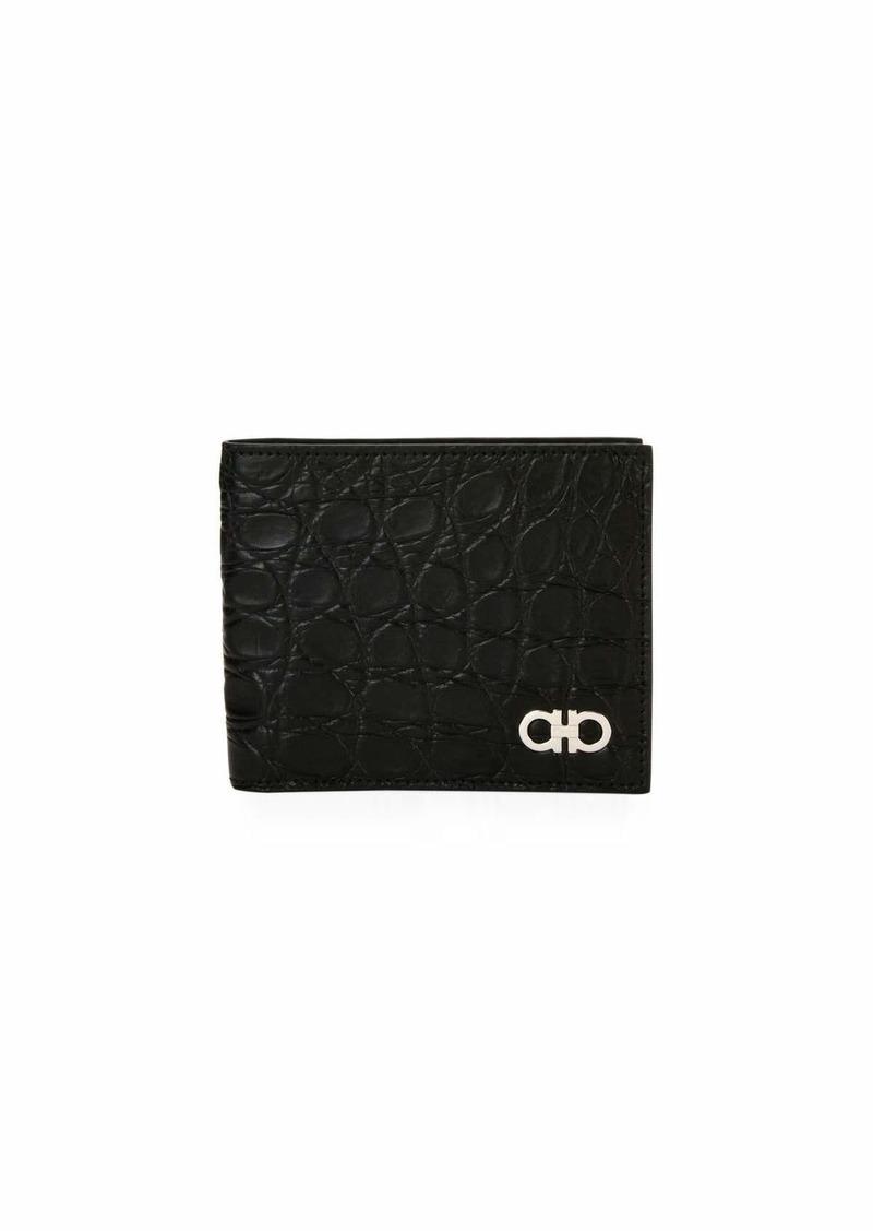 Ferragamo Men's Crocodile 8-Card Bi-Fold Wallet