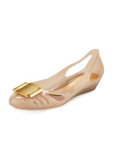 Salvatore Ferragamo Cutout Jelly Wedge Pump