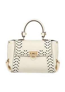 Salvatore Ferragamo Cutout Leather Top Handle Bag