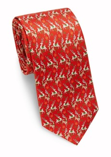 Ferragamo Deer Print Silk Tie