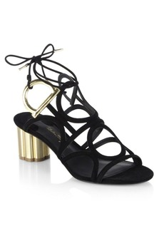 Ferragamo Detailed Gancio Flower Heel Vinci Sandals