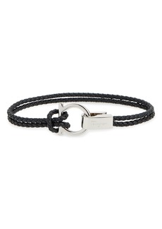 Salvatore Ferragamo Double Braided Gancini Leather Bracelet