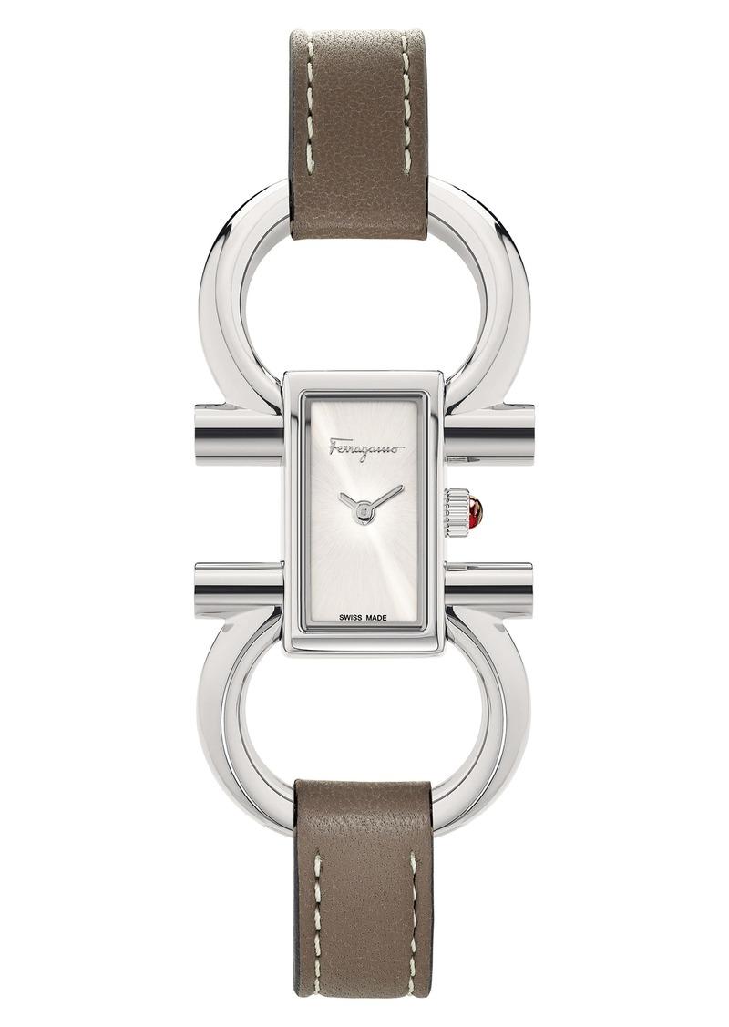 Salvatore Ferragamo Double Gancini Bracelet Watch, 13.5mm x 23.5mm