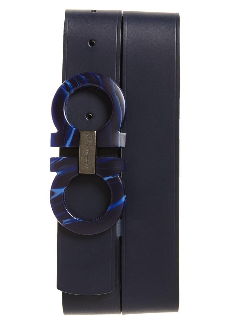 Salvatore Ferragamo Double Gancio Calfskin Leather Belt