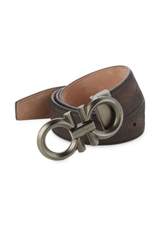 Ferragamo Adjustable Crocodile-Embossed Nubuck Gancini Buckle Belt