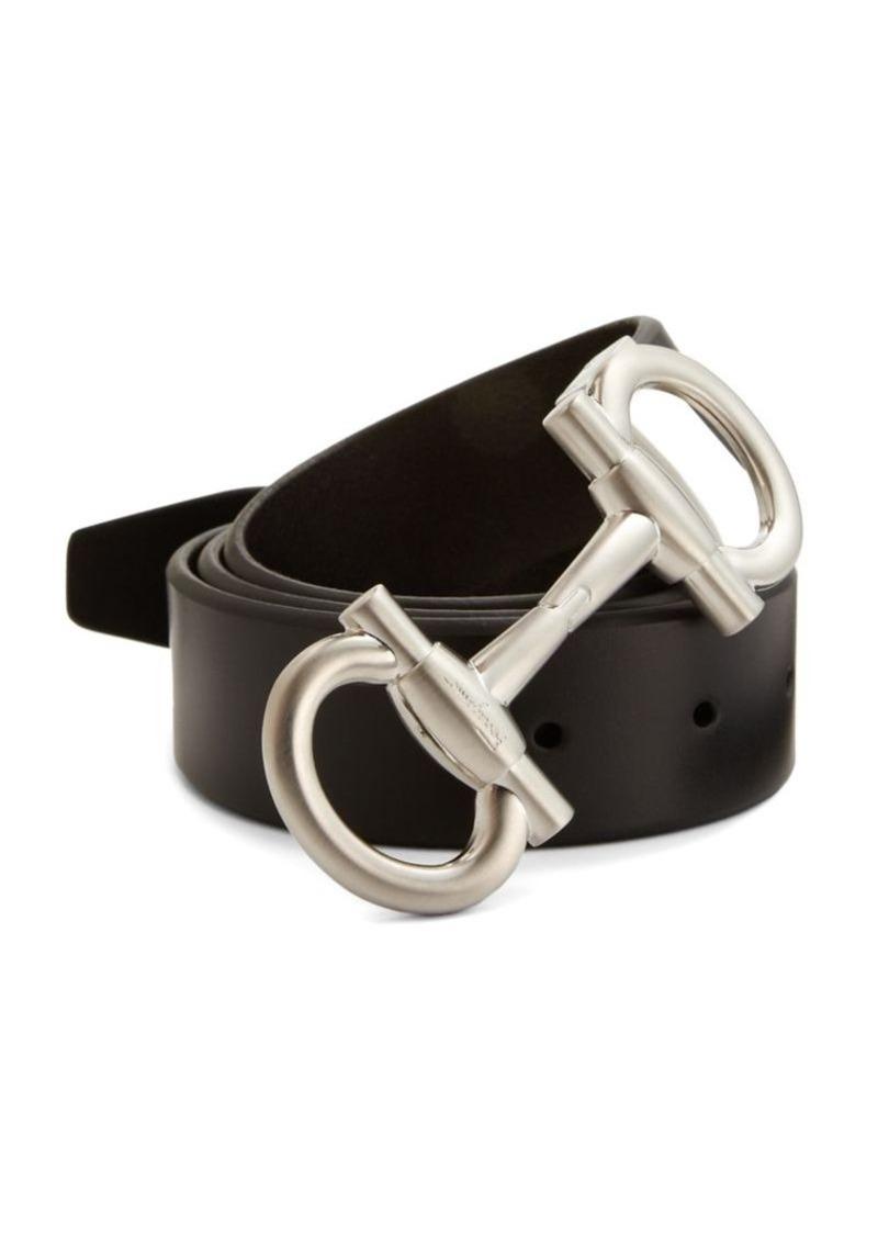 7aa1821ddab21 Ferragamo Salvatore Ferragamo Double Gancini Leather Belt