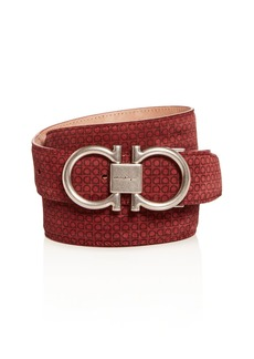 Salvatore Ferragamo Men's Double Gancini Printed Suede Belt