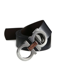 Ferragamo Adjustable & Reversible Gancini Buckle Belt with Briarwood Detail