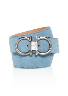 Salvatore Ferragamo Men's Double Gancini Suede Belt