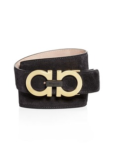 Salvatore Ferragamo Double Gancini Suede Belt