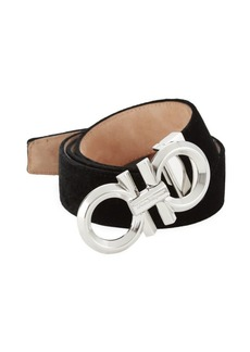 Ferragamo Adjustable Velvet Gancini Buckle Belt