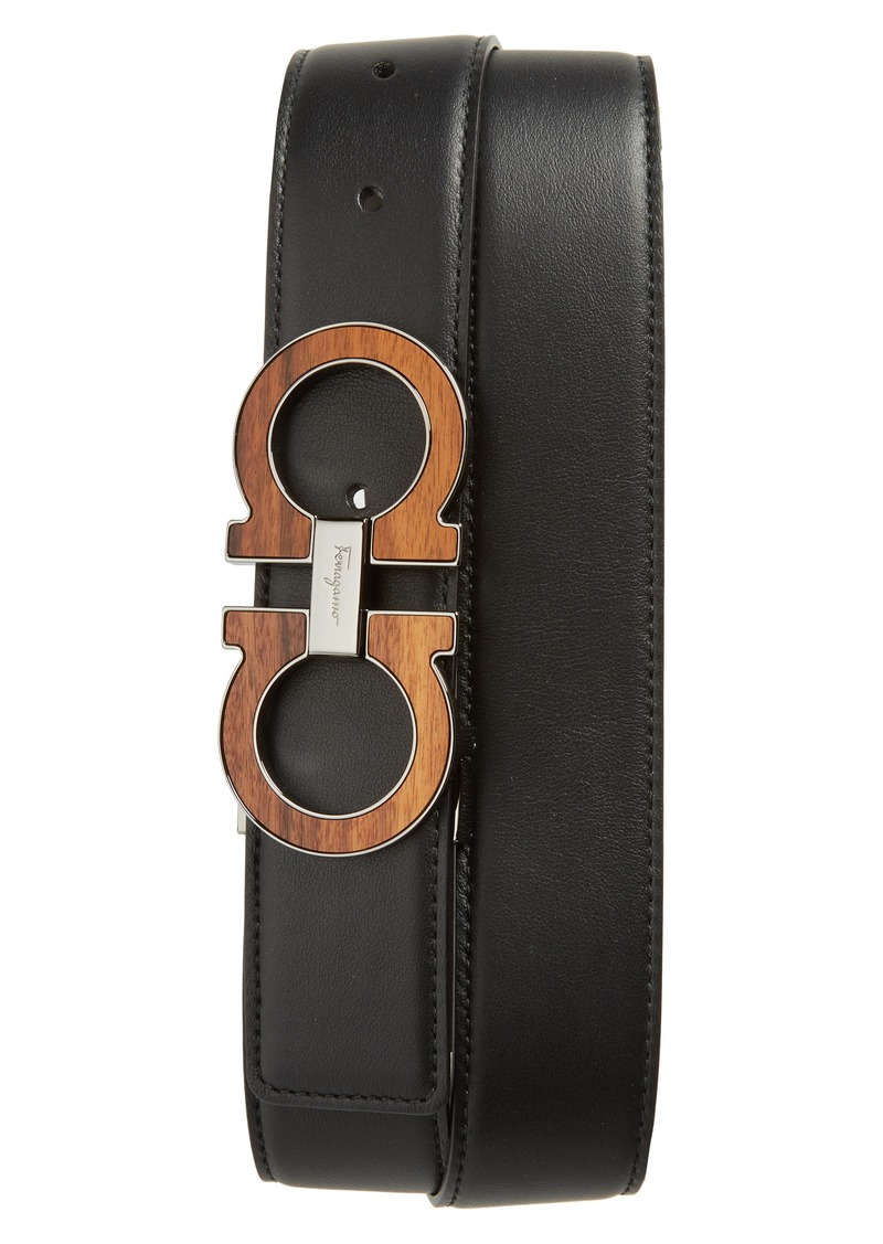 Salvatore Ferragamo Double Gancino Reversible Leather Belt