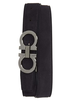 Salvatore Ferragamo Double Gancio Buckle Suede Belt