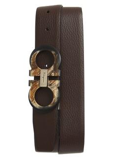 Salvatore Ferragamo Double Gancio Reversible Leather Belt