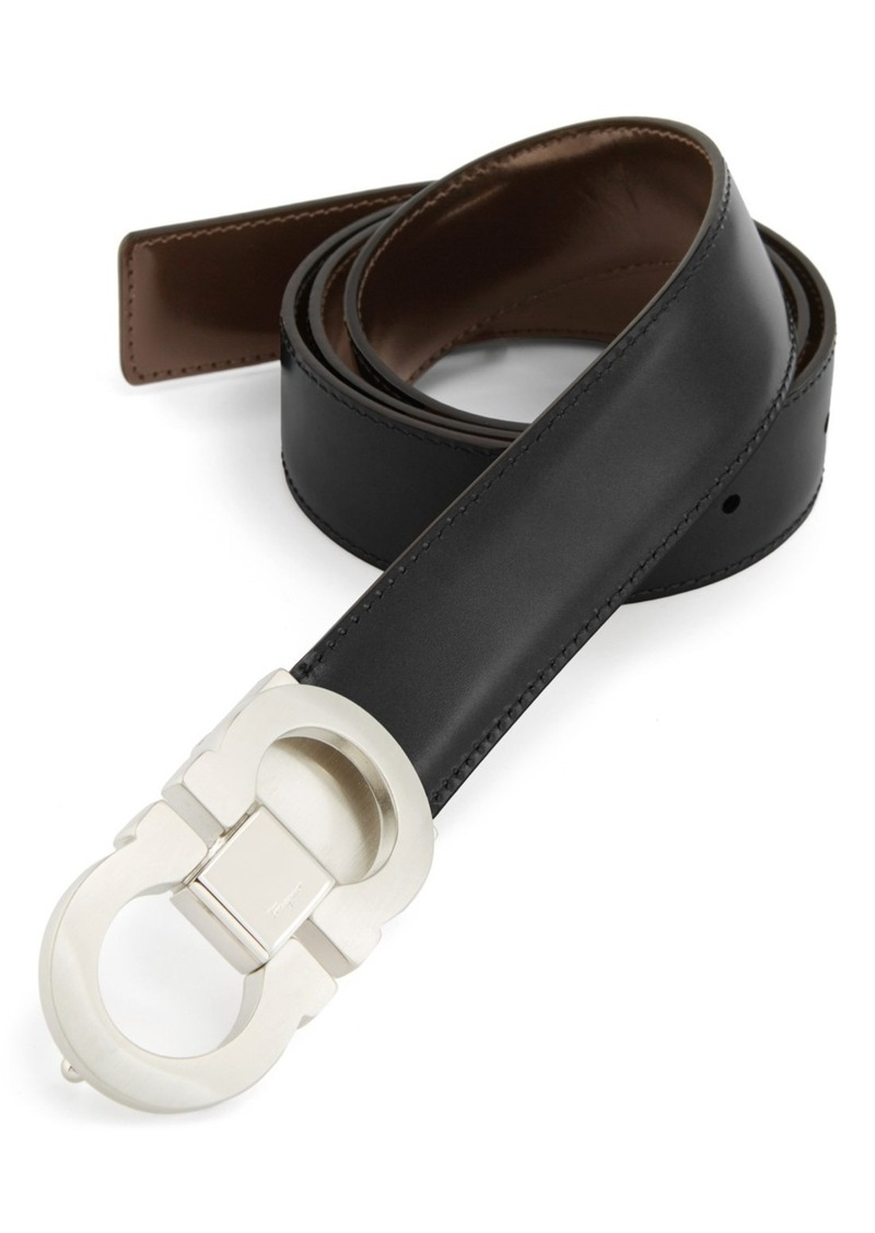 Salvatore Ferragamo Double Gancio Reversible Leather Belt