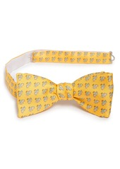 Salvatore Ferragamo Elephant Print Silk Bow Tie