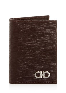 Salvatore Ferragamo Embossed Leather Bi-Fold Card Case