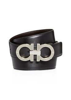 Salvatore Ferragamo Etched Double Gancini Buckle Reversible Leather Belt