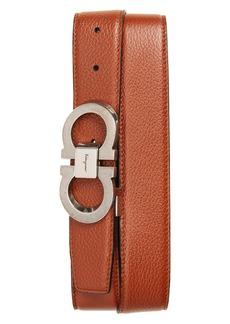 Salvatore Ferragamo Etched Double Gancini Leather Belt