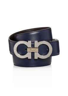 Salvatore Ferragamo Men's Etched Double Gancini Buckle Reversible Leather Belt