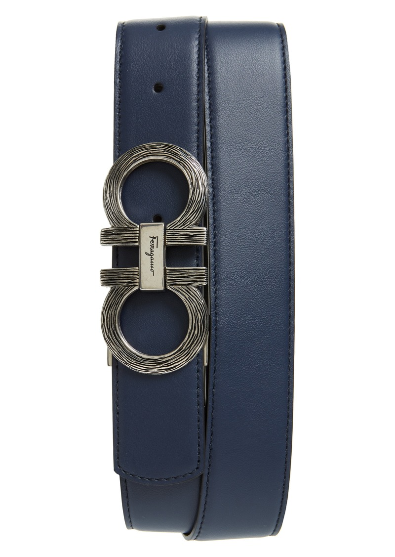 Salvatore Ferragamo Etched Double Gancio Reversible Leather Belt