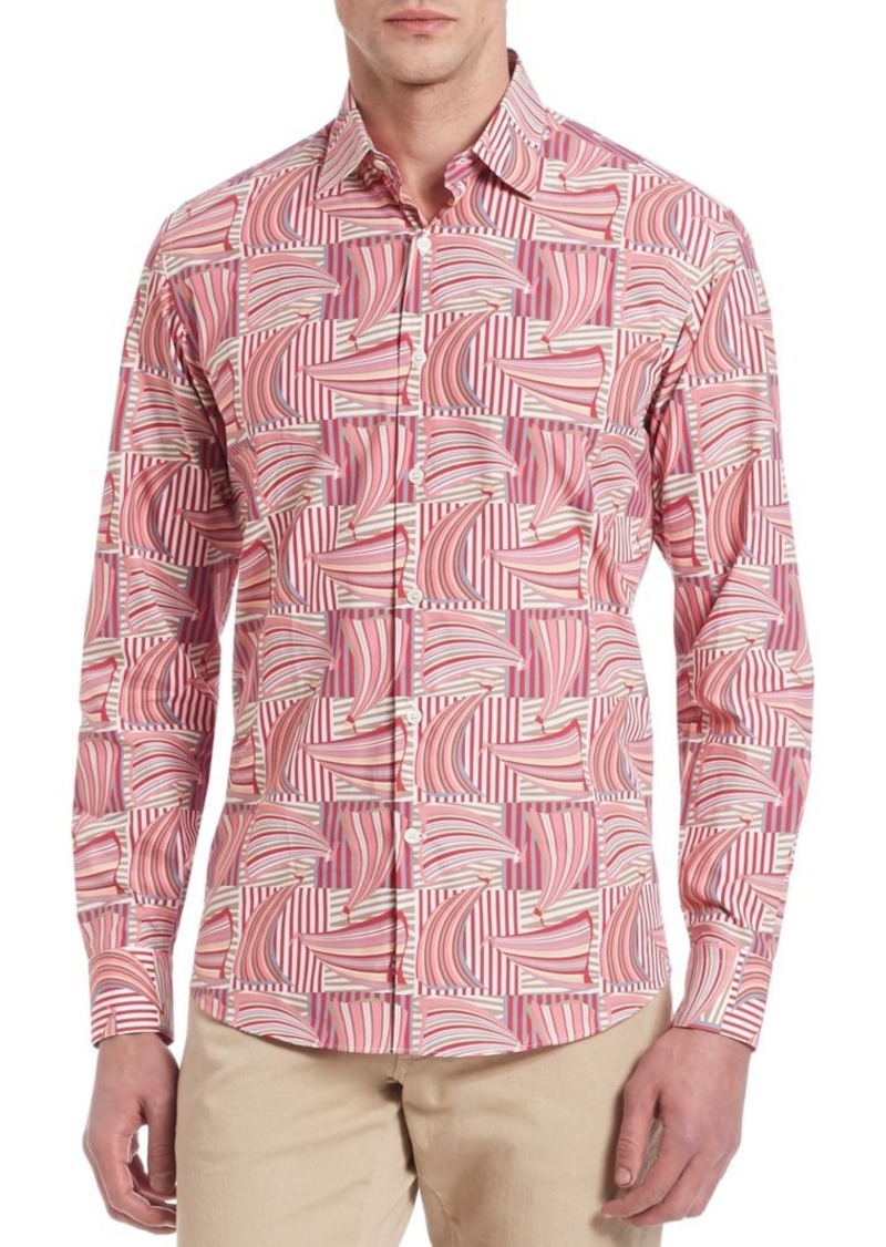 Salvatore Ferragamo Exploded Sailboat Print Button-Down Shirt