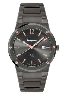 Salvatore Ferragamo F-80 Classic Gunmetal Bracelet Watch, 41mm
