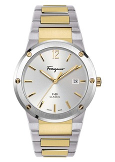 Salvatore Ferragamo F-80 Classic Two-Tone Bracelet Watch, 41mm