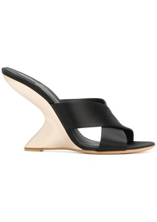 Salvatore Ferragamo F-wedge satin sandals - Black