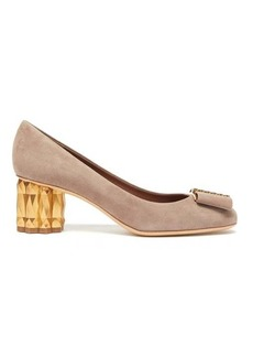 Salvatore Ferragamo Faceted Flower suede pumps