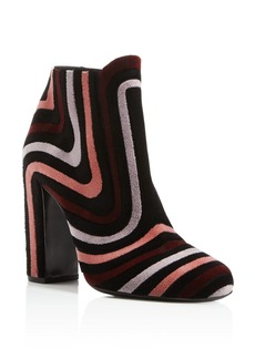 Salvatore Ferragamo Feel Velour Stripe Block Heel Booties