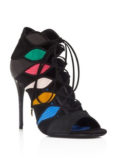 Salvatore Ferragamo Felicity Mixed Media Lace Up Open Toe Booties
