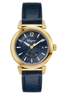 Salvatore Ferragamo Feroni Leather Strap Watch, 40mm