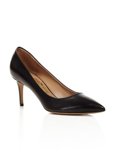 Salvatore Ferragamo Fiore Leather Pointed Toe High Heel Pumps