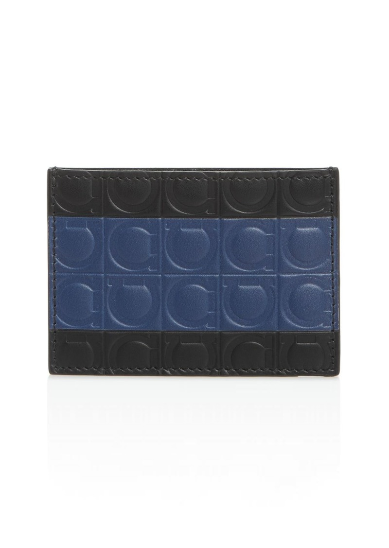 Salvatore Ferragamo Firenze Gamma Stripe Leather Card Case