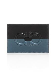 Salvatore Ferragamo Firenze Logo Bi-Color Leather Card Case