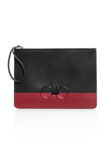 Salvatore Ferragamo Firenze Logo Color-Block Leather Pouch