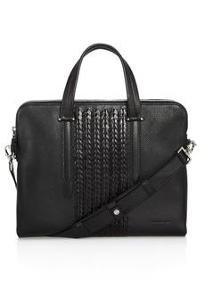 Salvatore Ferragamo Firenze Pebbled and Woven Leather Slim Briefcase