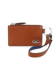 Ferragamo Flat Zip Leather Card Case
