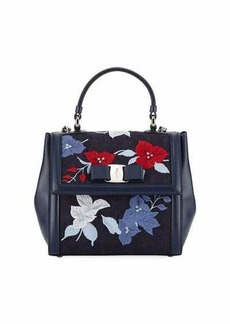 Salvatore Ferragamo Floral-Embroidered Mixed Top Handle Bag