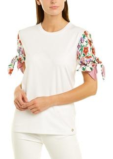 Salvatore Ferragamo Floral Silk Sleeve Top