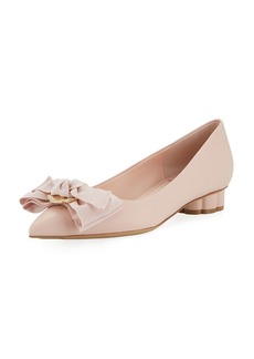 Salvatore Ferragamo Flower-Heel Ballet Flat with Fringe Bow