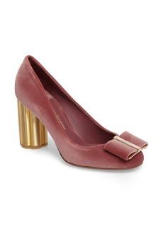 Salvatore Ferragamo Flower Heel Bow Pump (Women)