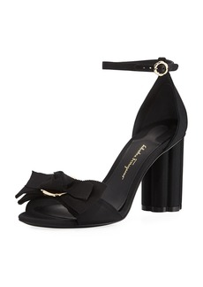 Salvatore Ferragamo Flower-Heel Grosgrain 85mm Sandal