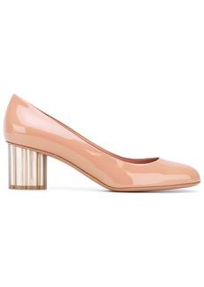 Ferragamo flower heel pumps