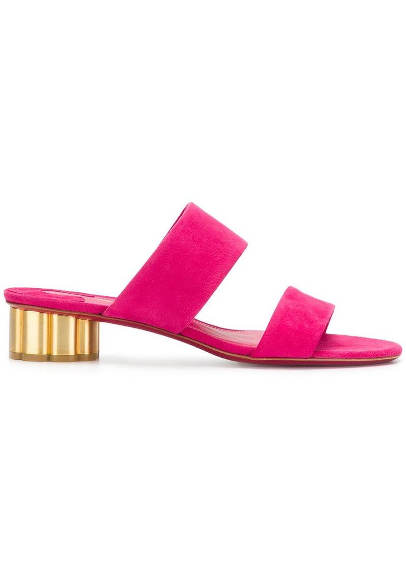 Ferragamo Flower Heel Strap Mules Shoes